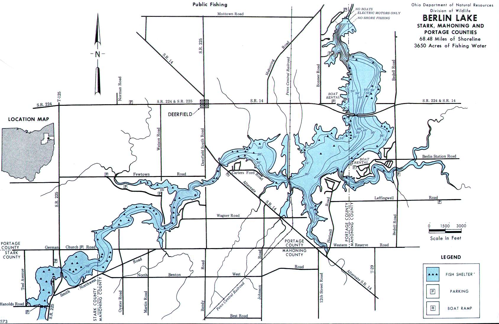 Lake Contour Map For Berlin Lake In Portage County Ohio