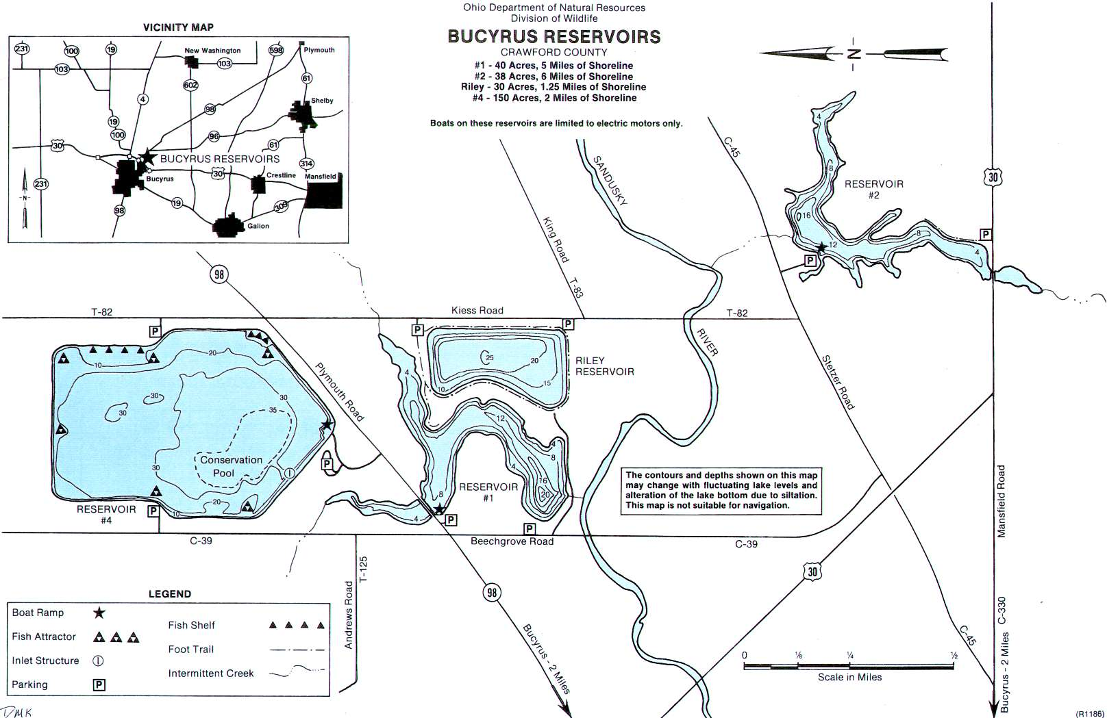Bucyrus Reservoir Fishing Map | Northwest Ohio Fishing