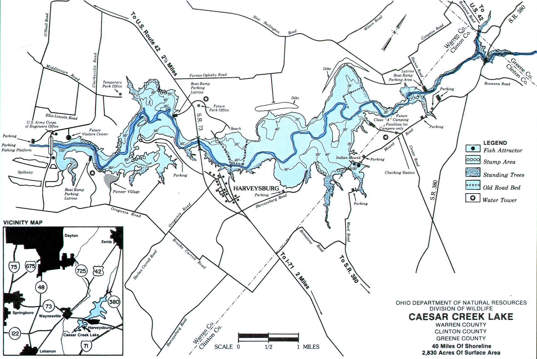 Caesar Creek Lake Fishing Map | Southwest Ohio Fishing