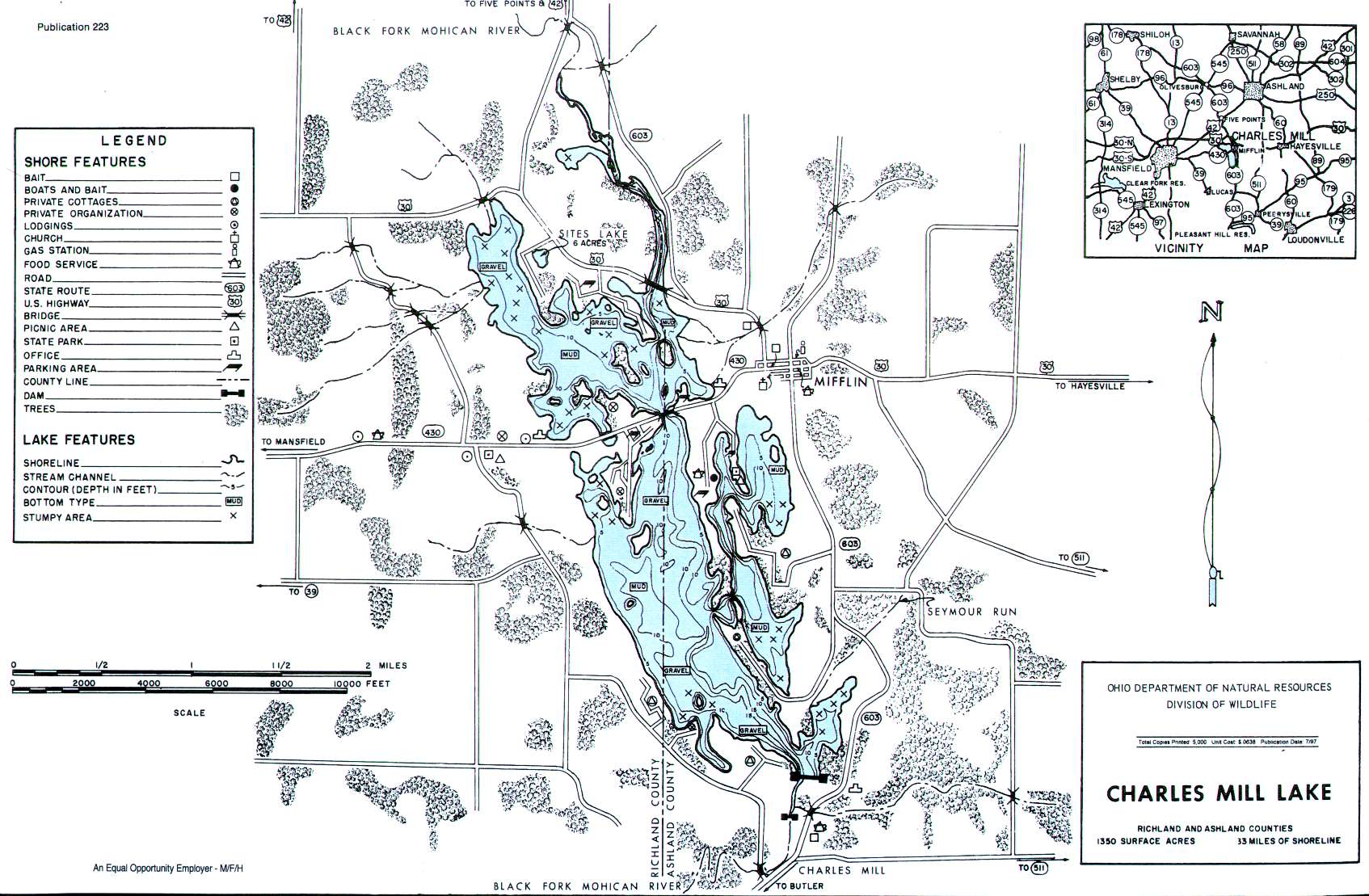 Charles Mill Lake Fishing Map | Northeast Ohio Fishing