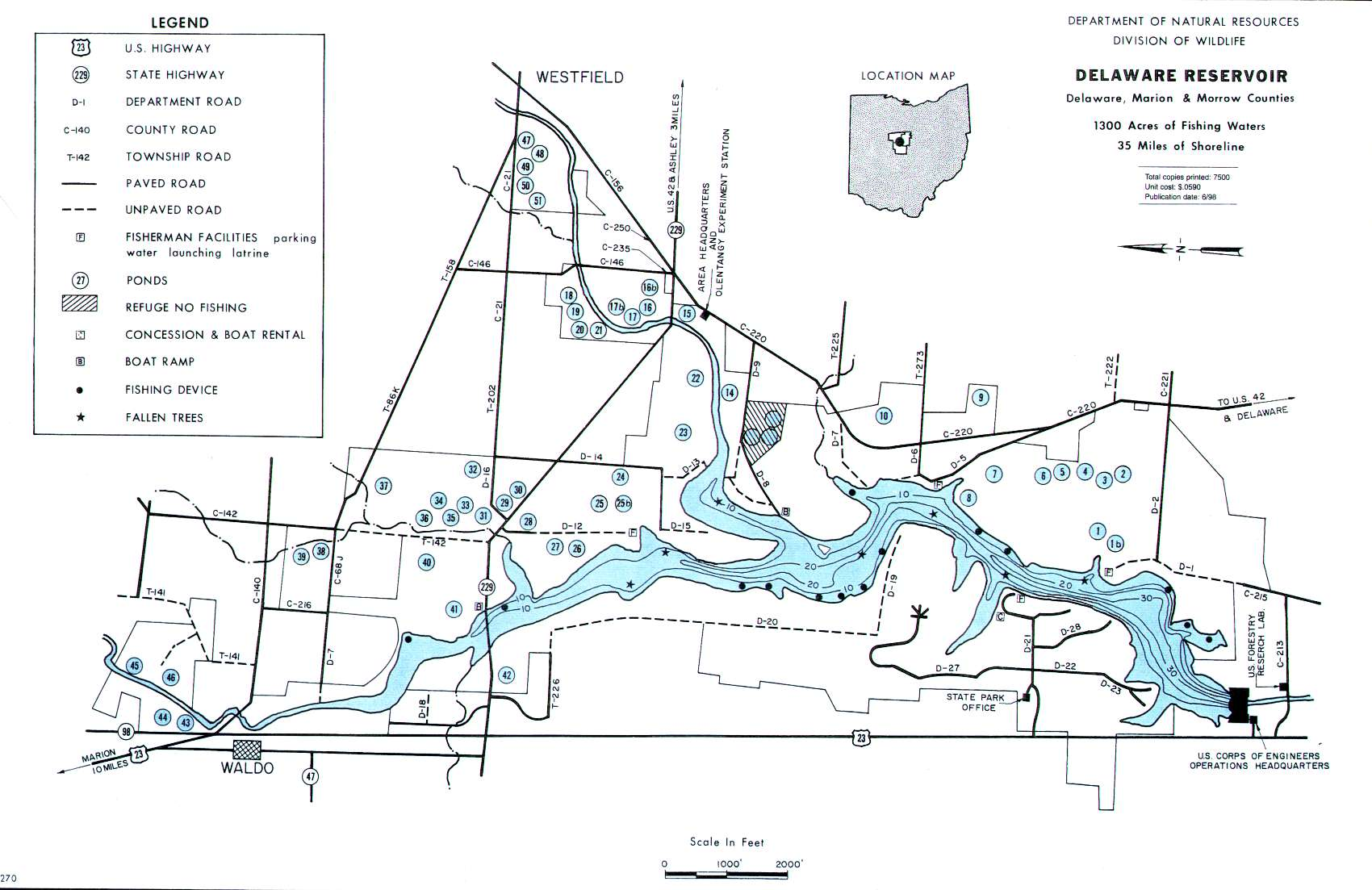Delaware Reservoir Fishing Map | Central Ohio Fishing