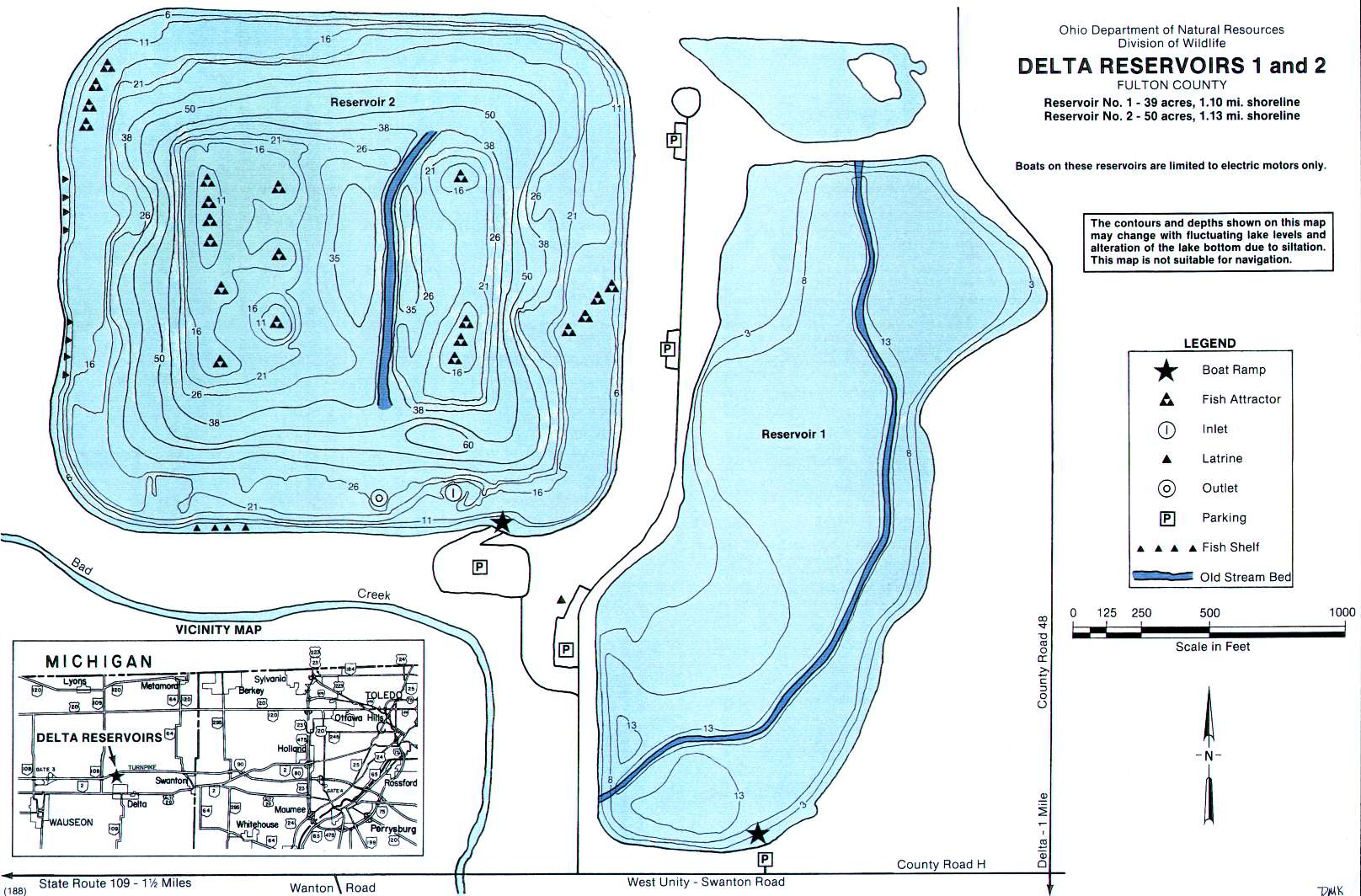 Delta Reservoirs 1-2 Fishing Map | Northwest Ohio Fishing