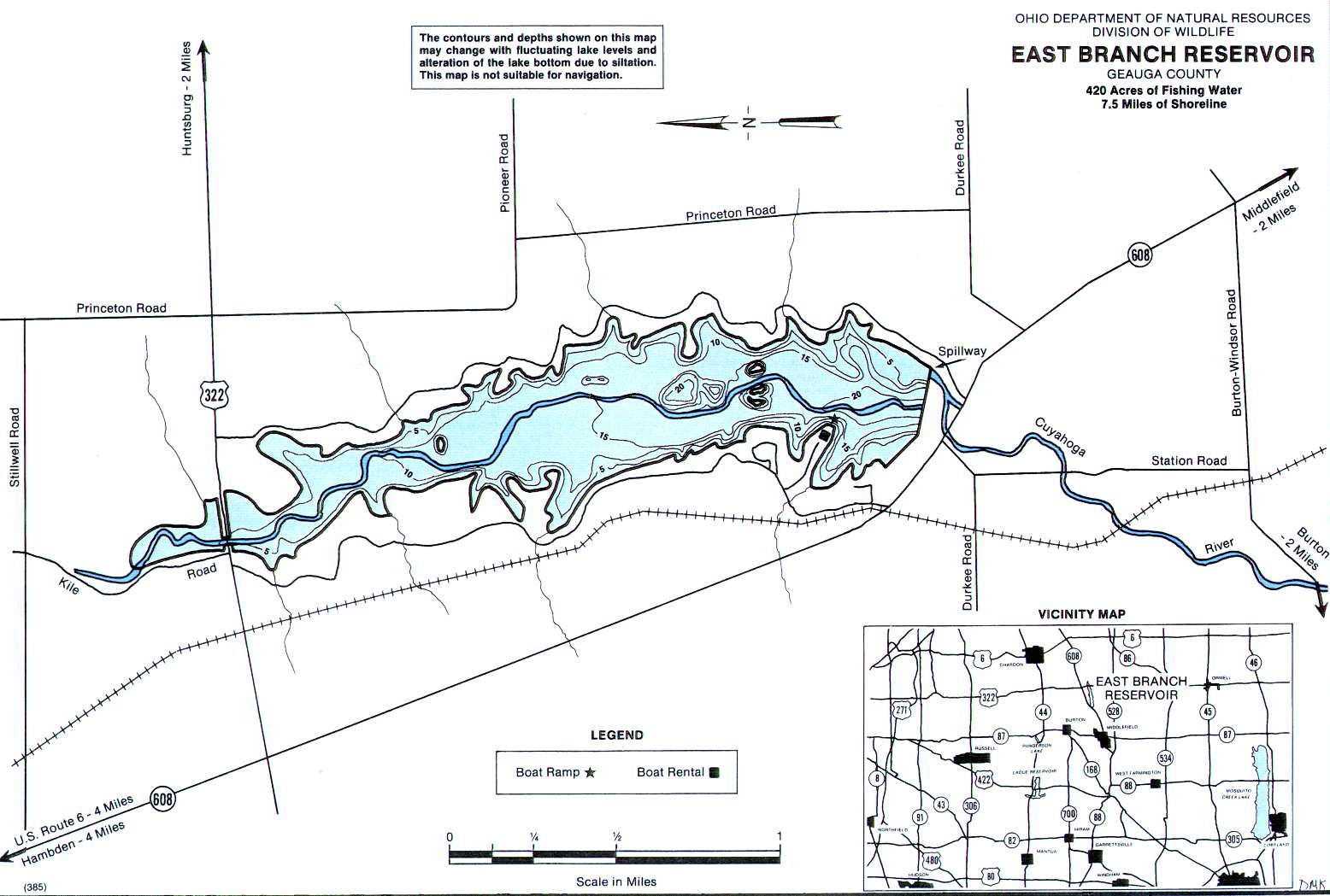 East Branch Reservoir Fishing Map | Northeast Ohio Fishing