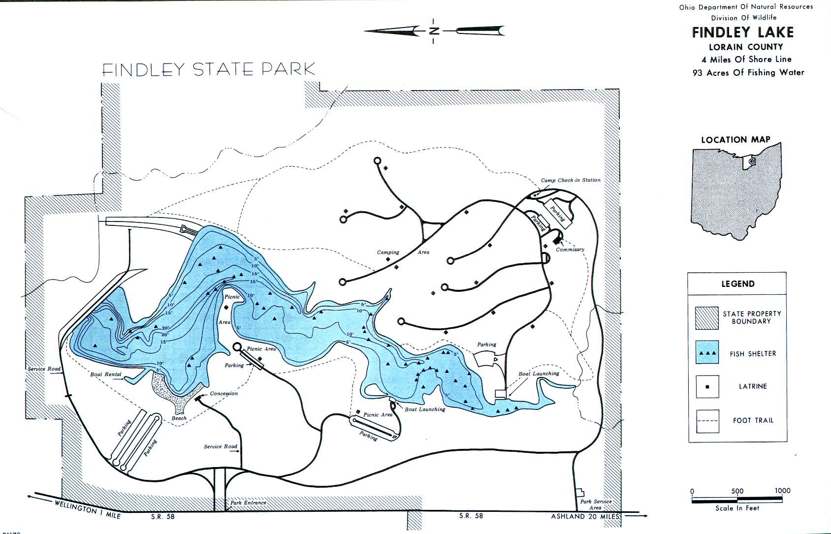 Findley Lake Fishing Map | Northeast Ohio Fishing