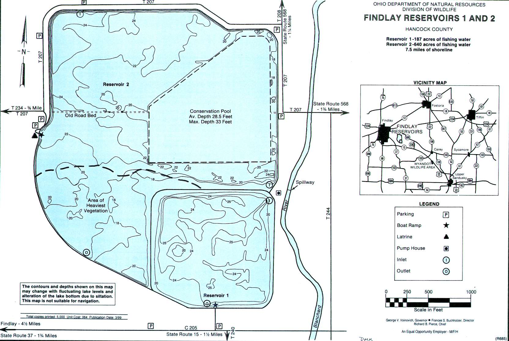 Findlay Reservoirs 1-2 Fishing Map | Northwest Ohio Fishing
