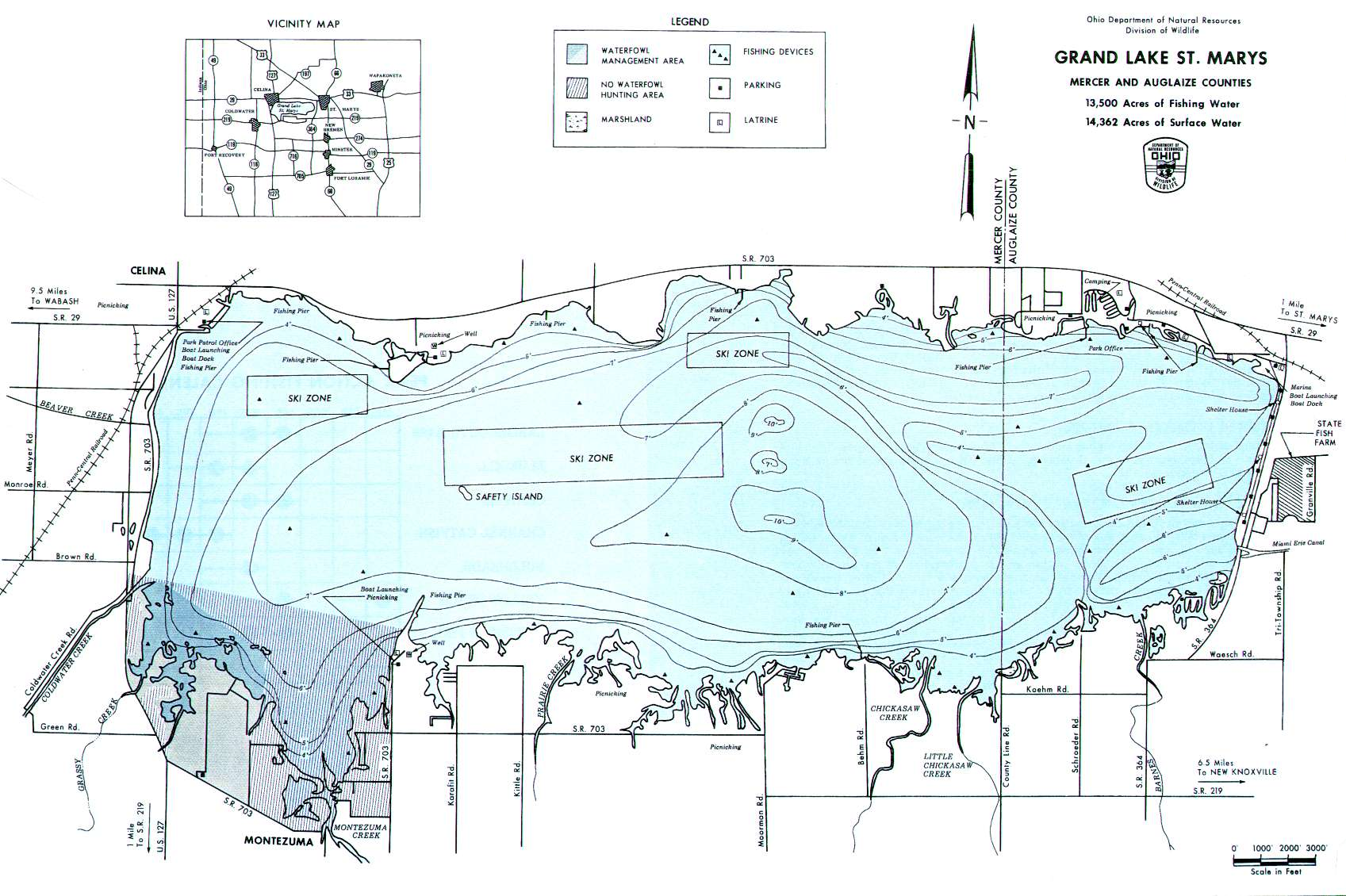 Grand Lake St. Marys Fishing Map | Southwest Ohio