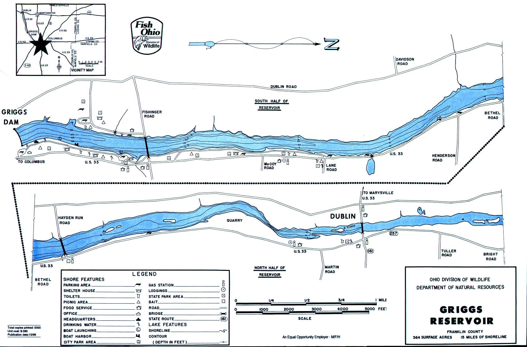 Griggs Reservoir Fishing Map | Central Ohio Fishing