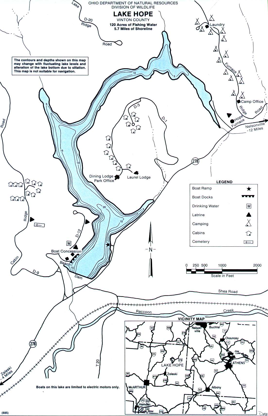 Lake Hope Fishing Map | Southeast Ohio Fishing