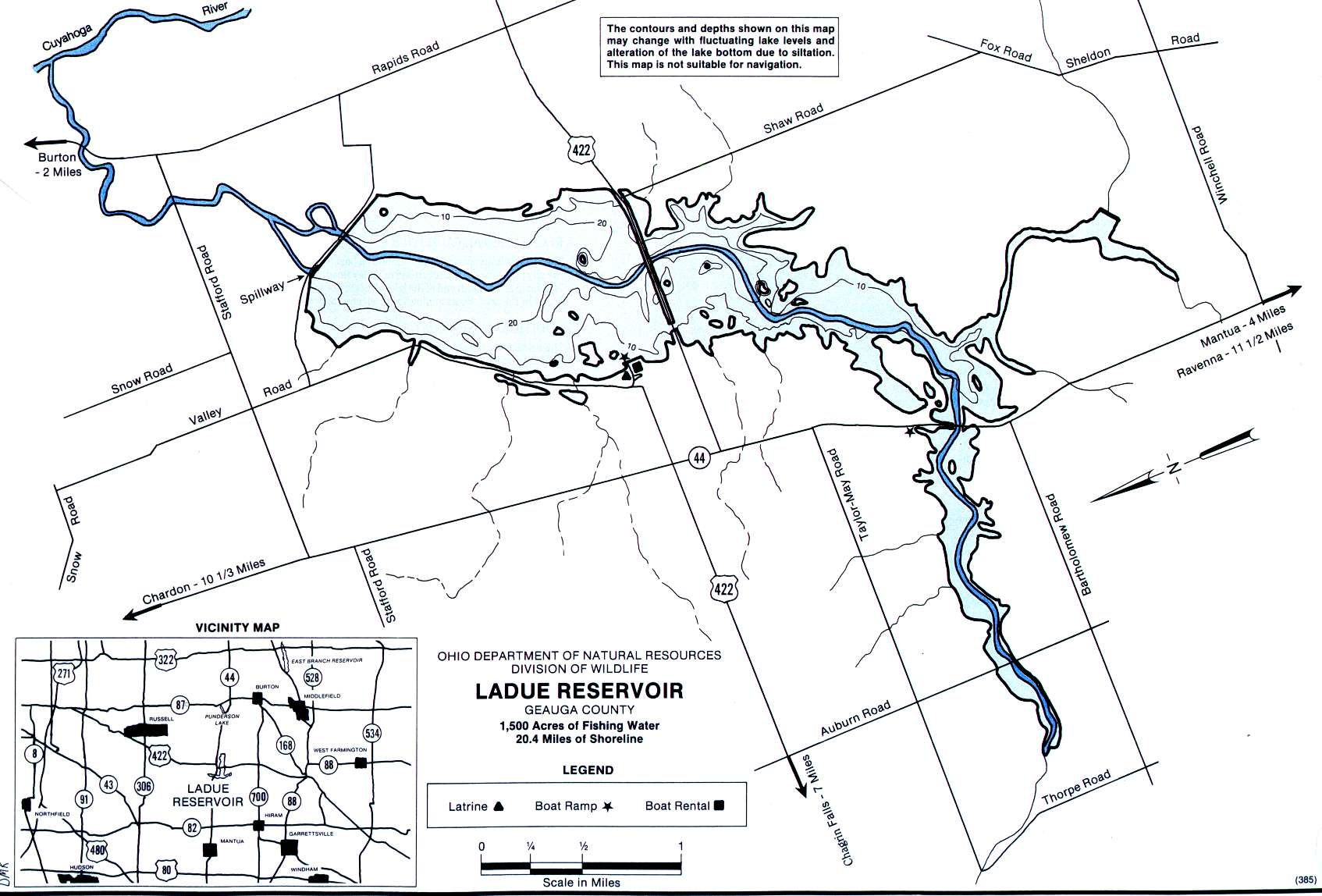 LaDue Reservoir Fishing Map | Northeast Ohio Fishing