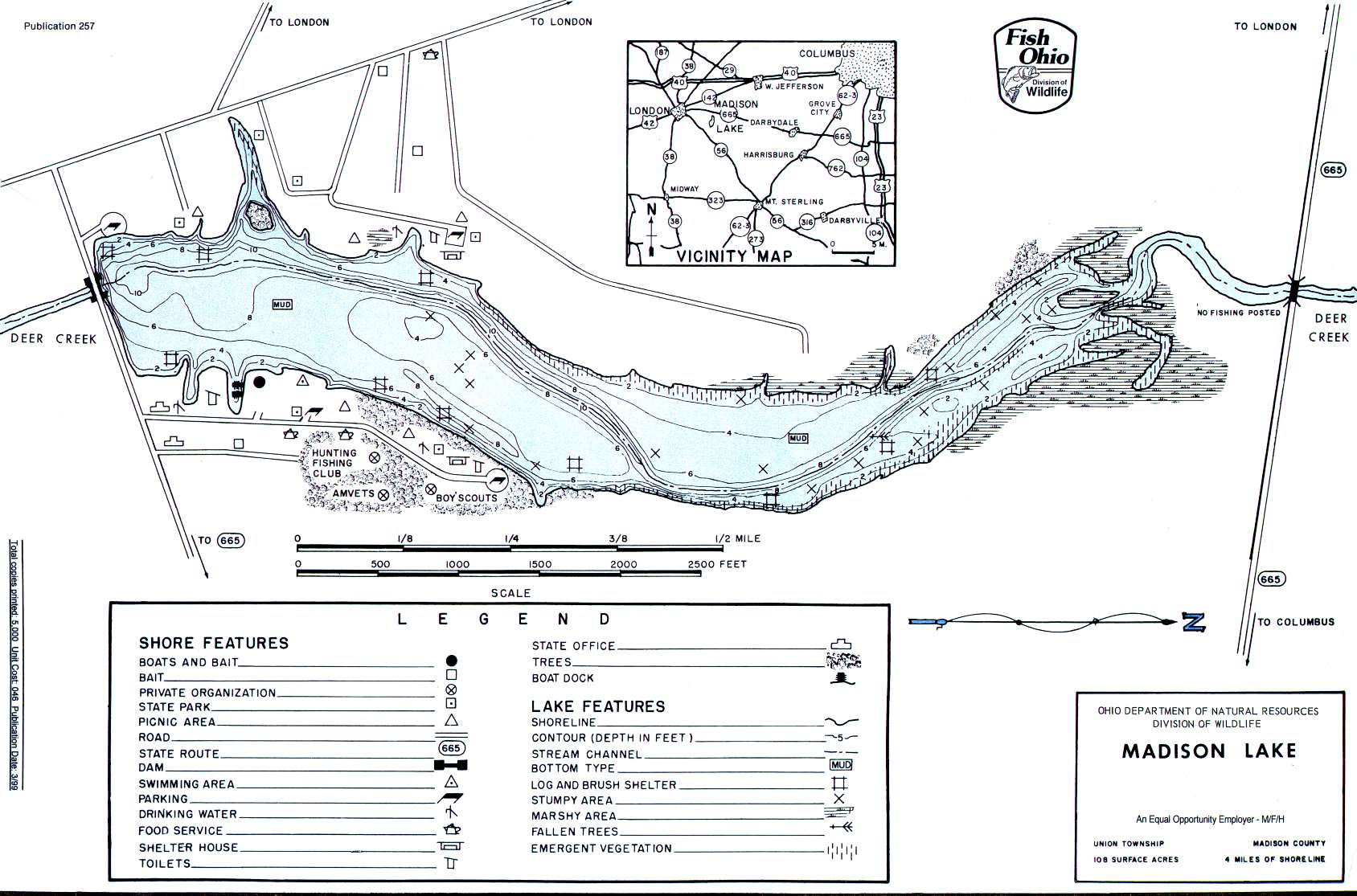 Madison Lake Fishing Map | Central Ohio Fishing