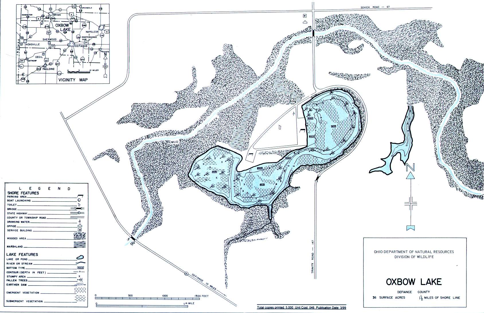 Oxbow Lake Fishing Map | Northwest Ohio Fishing