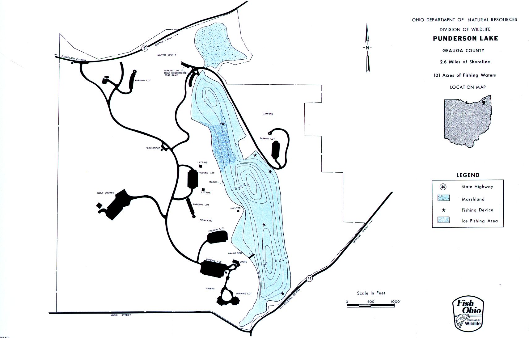 Punderson Lake Fishing Map | Northeast Ohio Fishing