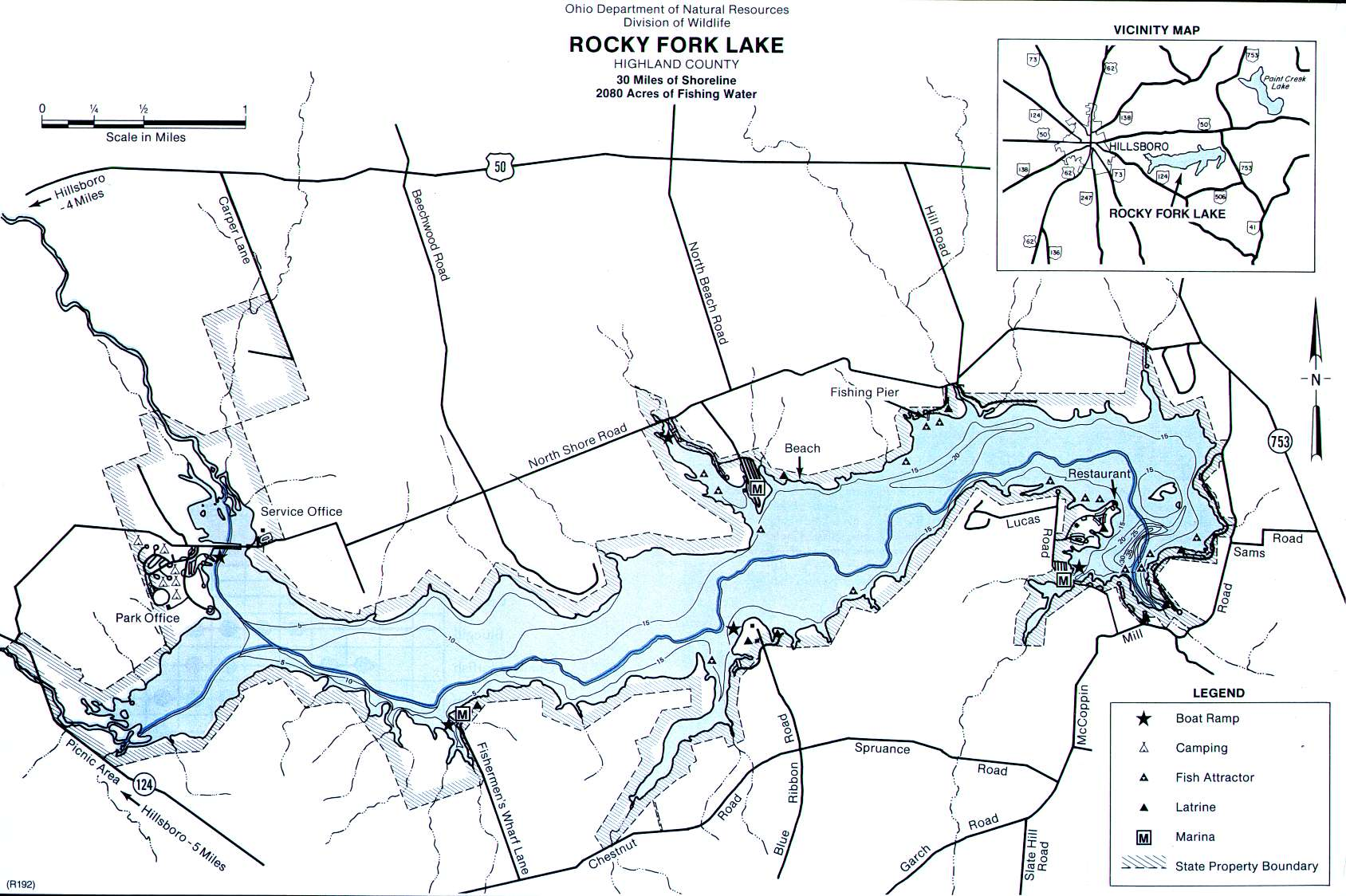 Rocky Fork Lake Fishing Map | Southwest Ohio