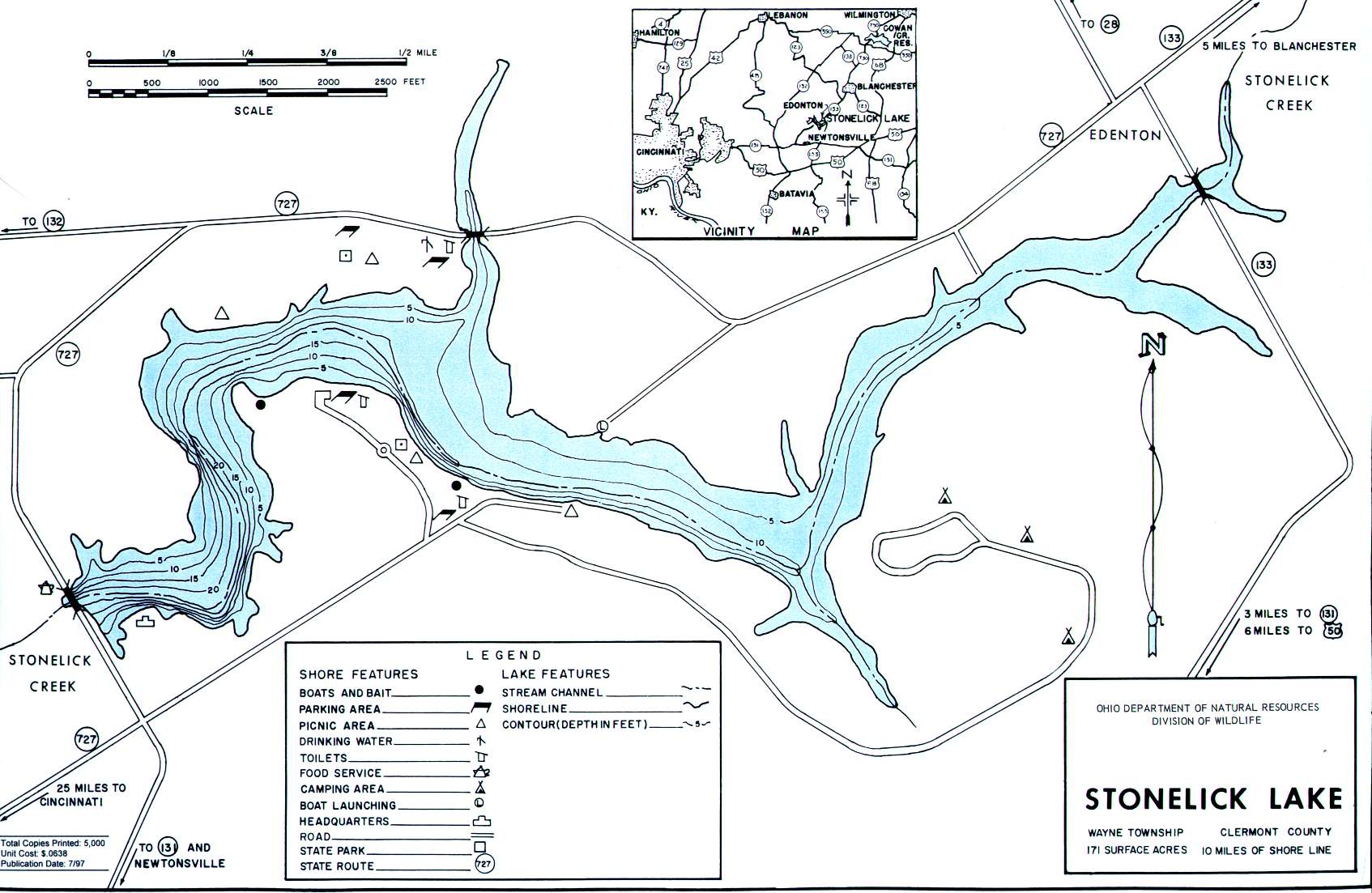 Stonelick Lake Fishing Map | Southwest Ohio