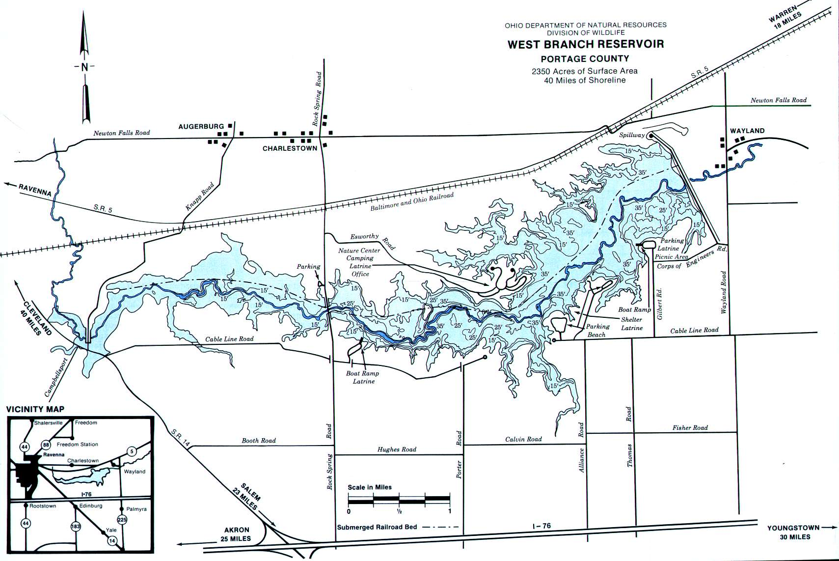 West Branch Reservoir Fishing Map | Northeast Ohio Lake Maps