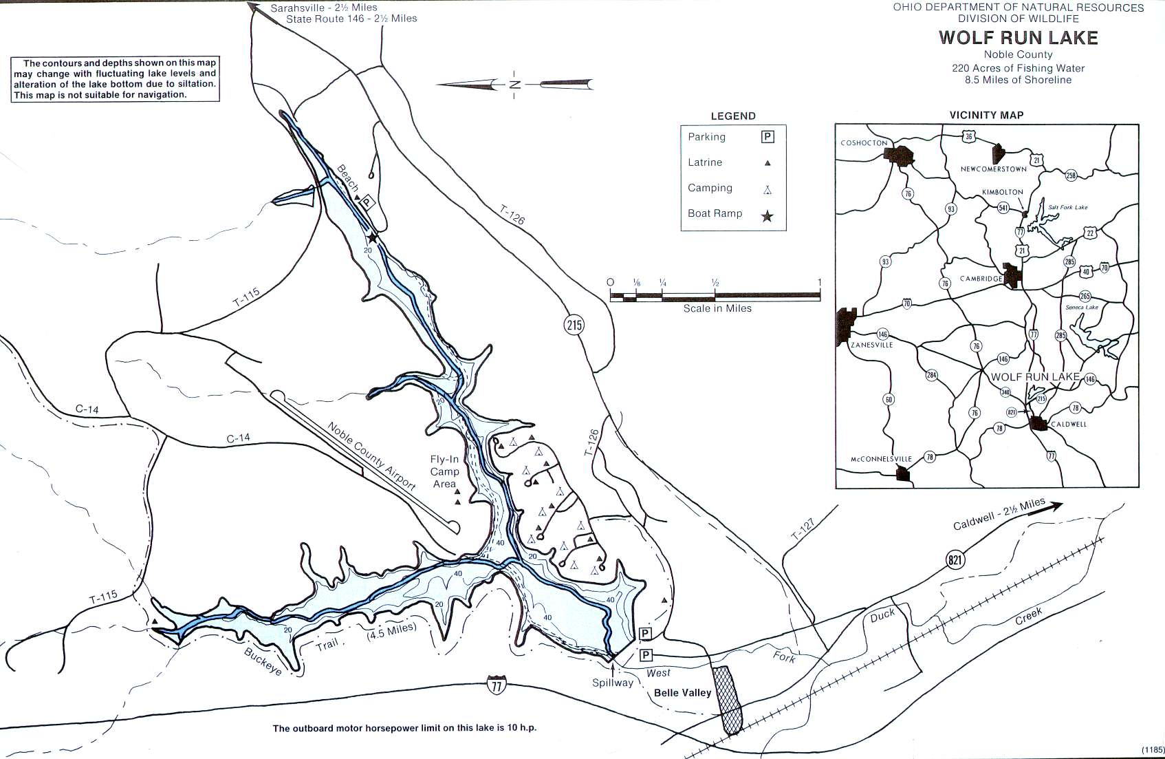 Wolf Run Lake Fishing Map | Southeast Ohio Fishing