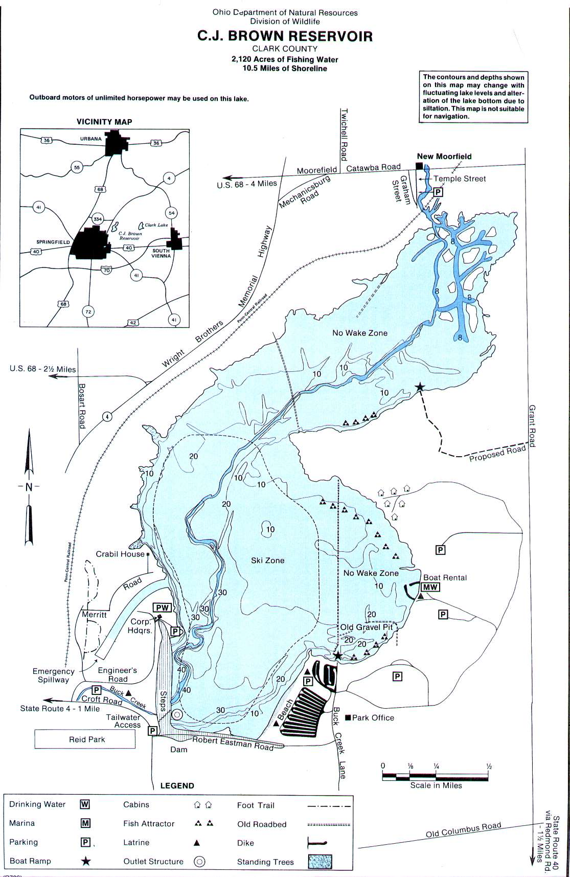 CJ Brown Reservoir Fishing Map | Southwest Ohio Fishing