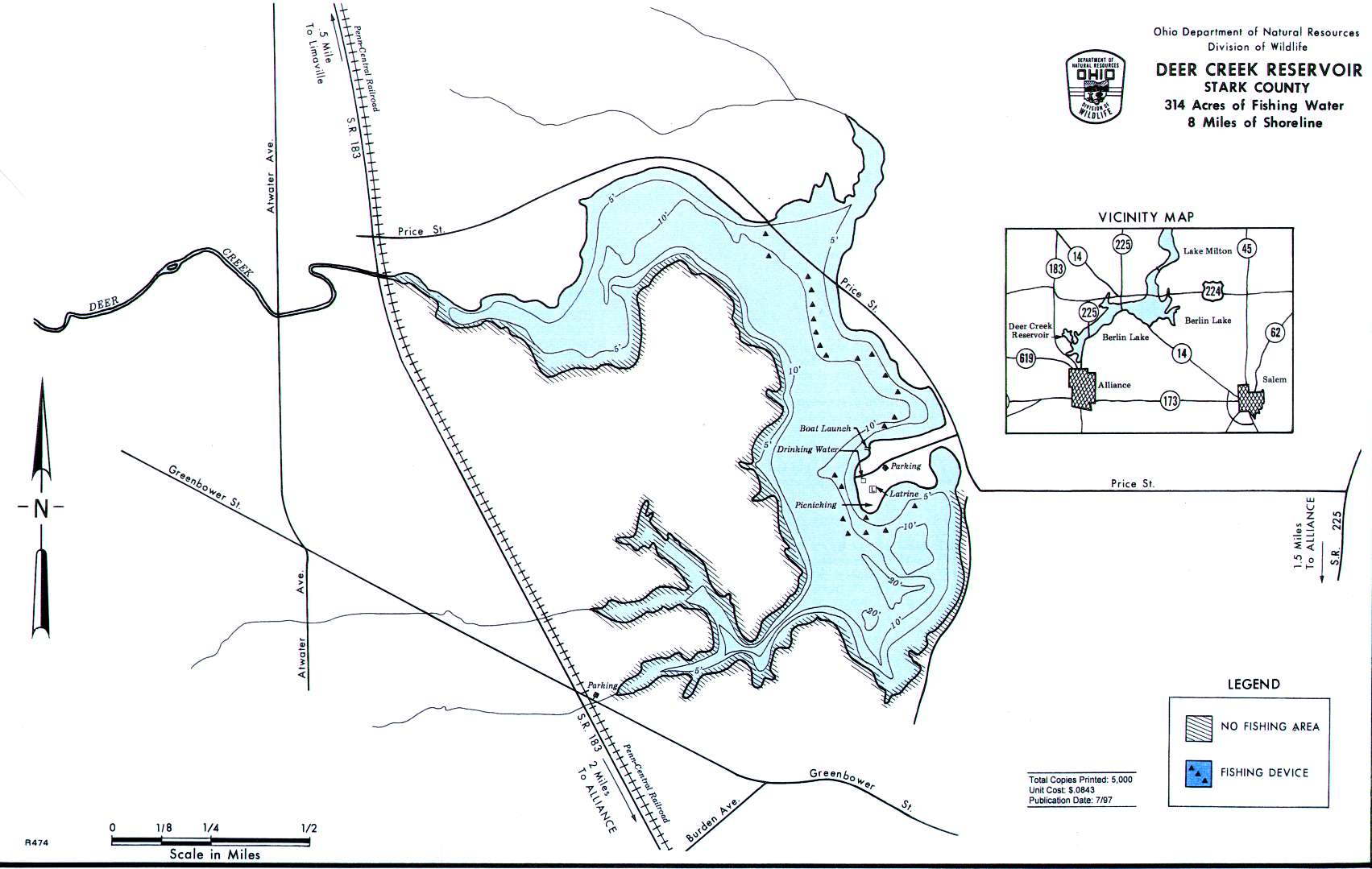 Deer Creek Lake Fishing Map | Northeast Ohio Fishing