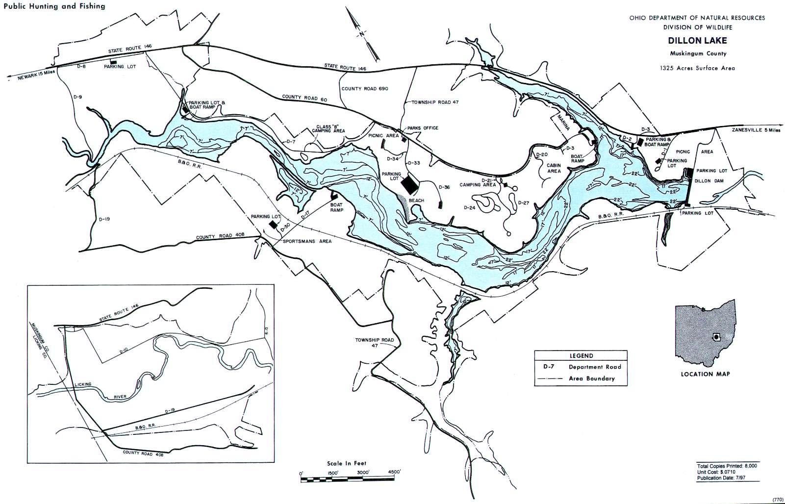 Dillon Lake Fishing Map   Southeast Ohio Fishing