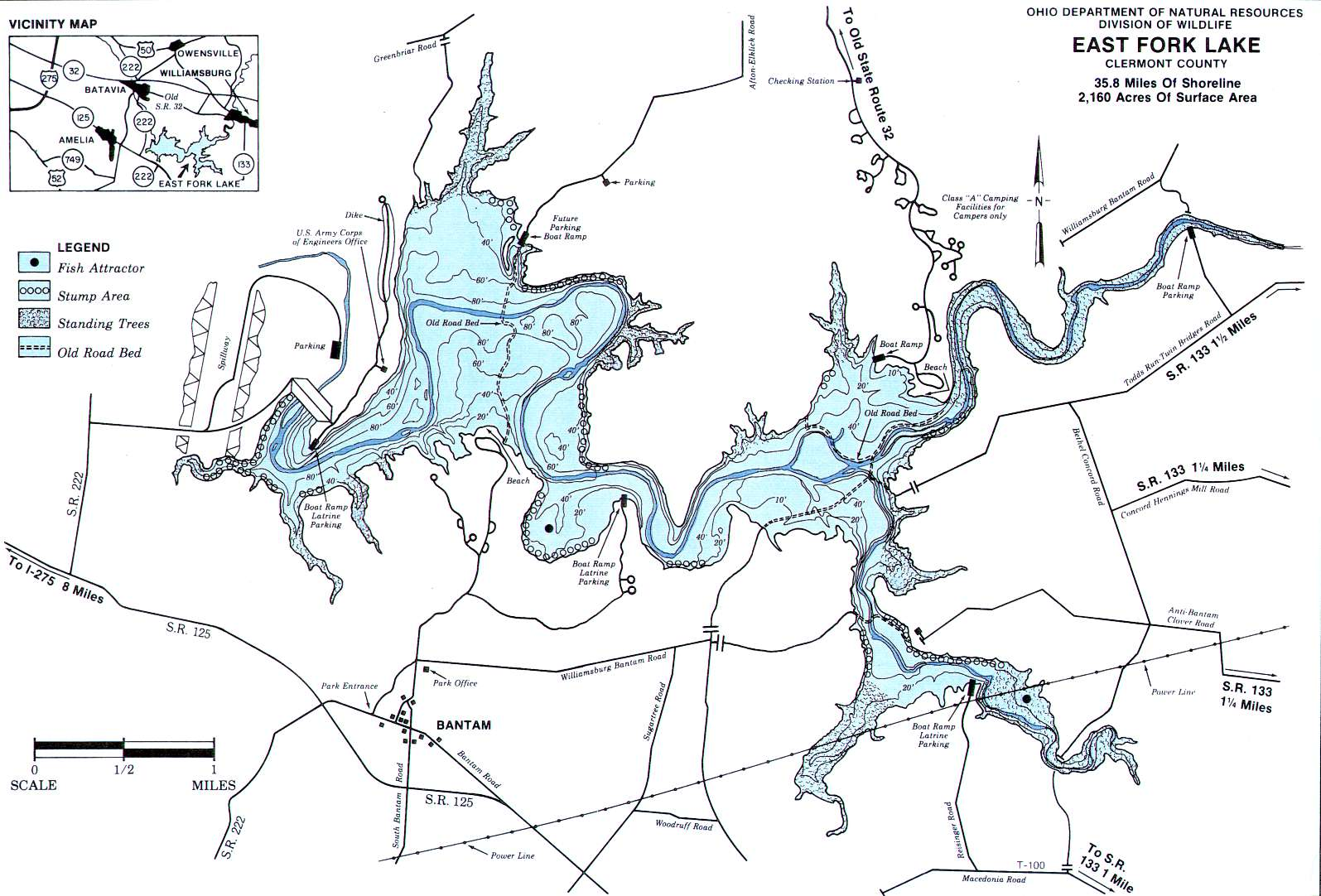 East Fork Lake Fishing Map | Southwest Ohio