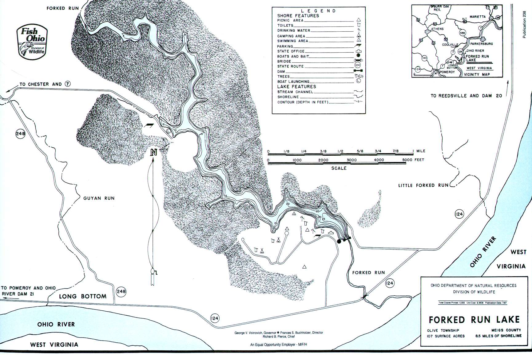 Forked Run Lake Fishing Map   Southeast Ohio Fishing