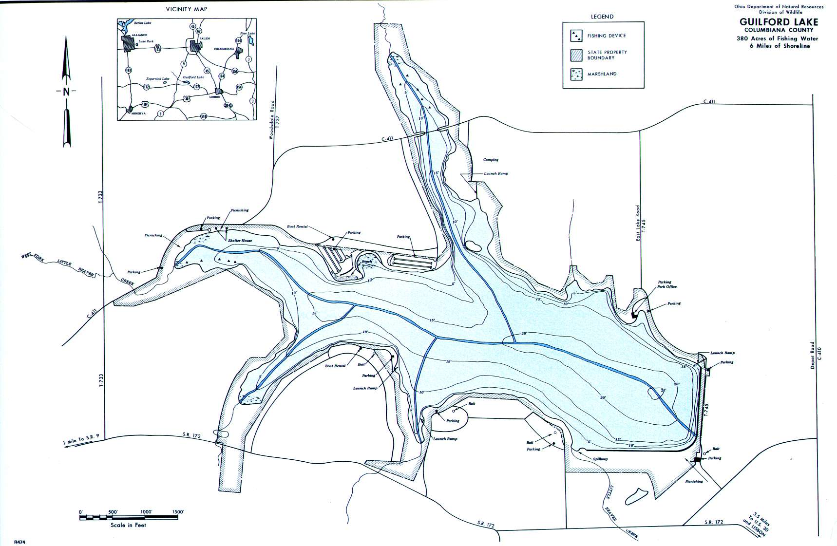 Guilford Lake Fishing Map | Northeast Ohio Fishing