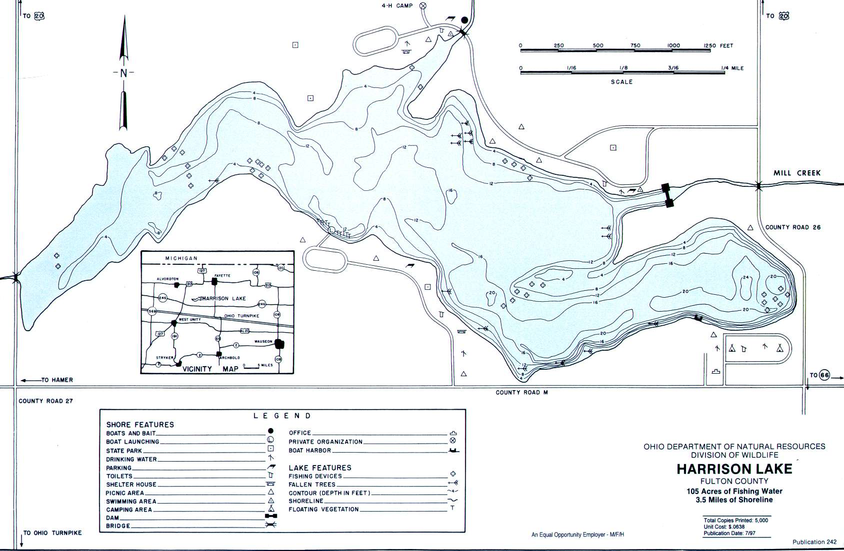 Harrison Lake Fishing Map | Northwest Ohio Fishing
