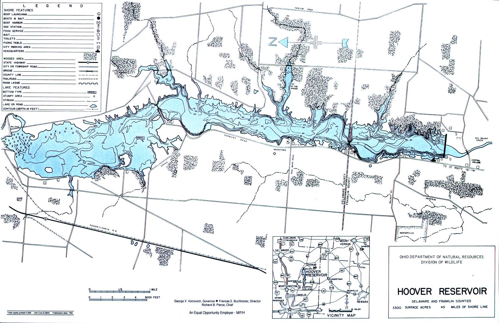 Hoover Reservoir Fishing Map | Central Ohio Fishing