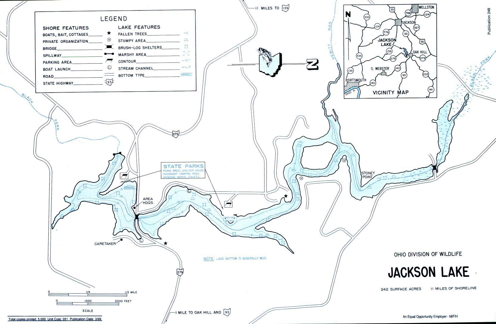 Jackson Lake Fishing Map | Southeast Ohio Fishing