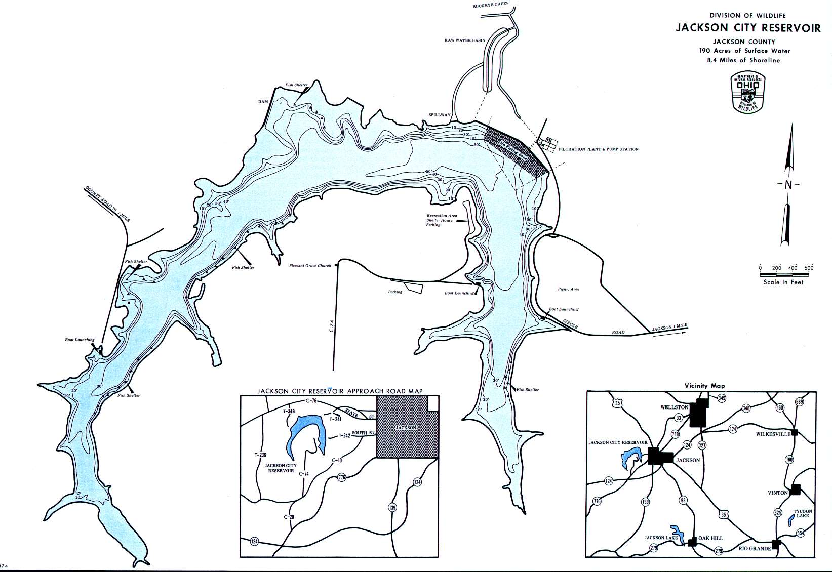 Jackson City Reservoir Fishing Map | Southeast Ohio Fishing
