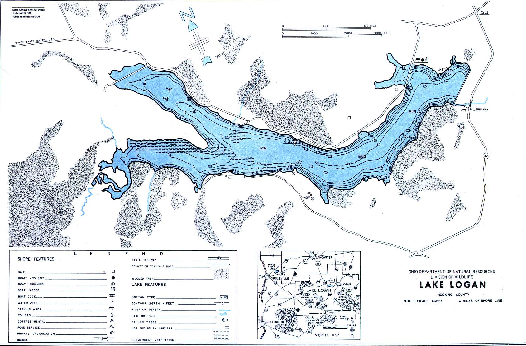 Lake Logan Fishing Map   Southeast Ohio Fishing