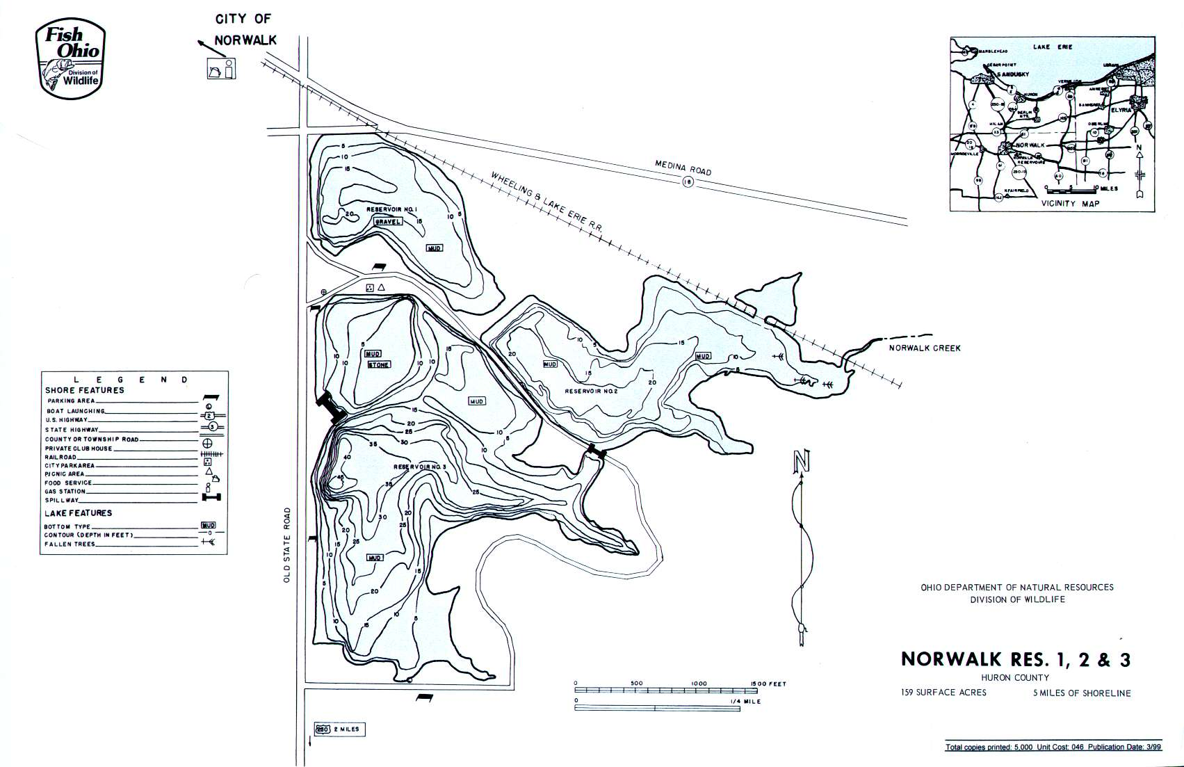 Norwalk Reservoir Fishing Map | Northwest Ohio Fishing