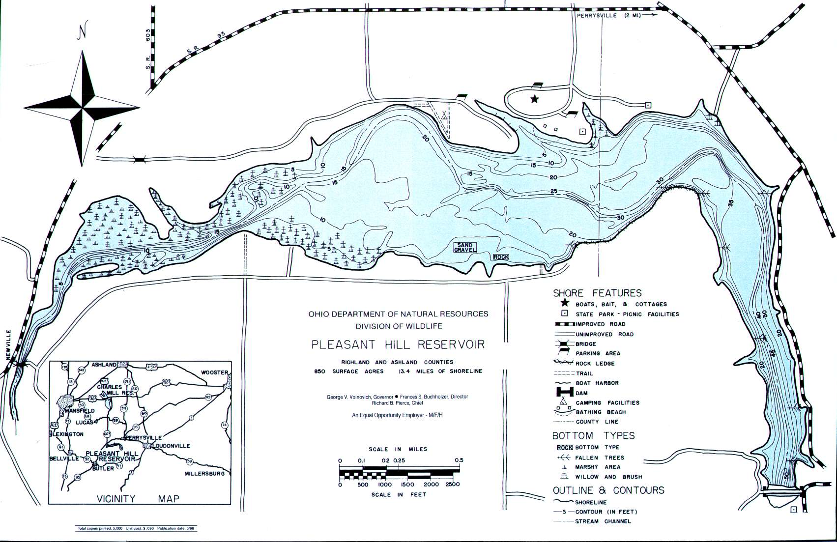 Pleasant Hill Reservoir Fishing Map | Northwest Ohio Fishing