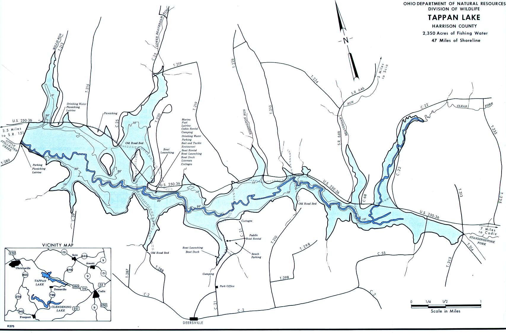 Tappan Lake Fishing Map | Northeast Ohio Fishing