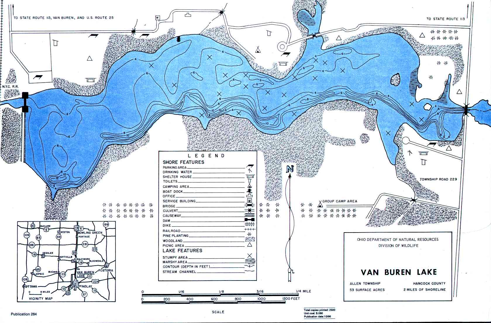 Van Buren Lake Fishing Map | Northwest Ohio Fishing