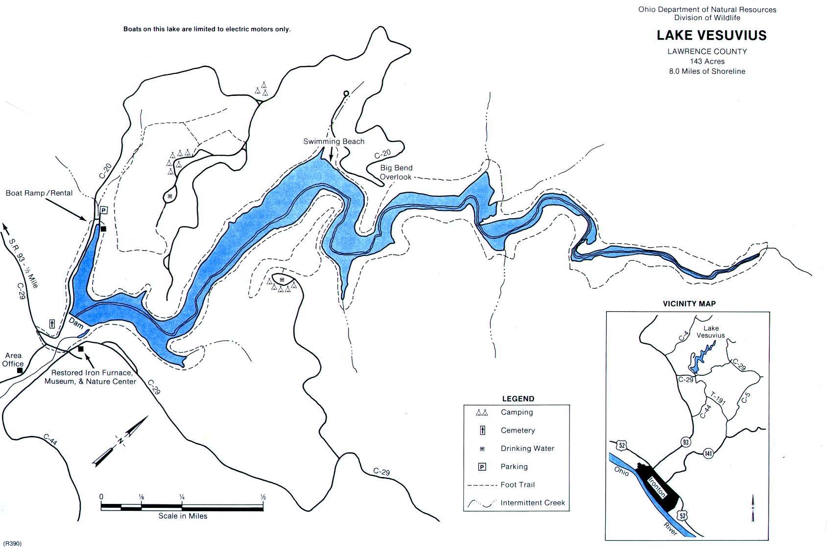 Lake Vesuvius Fishing Map | Southeast Ohio Fishing