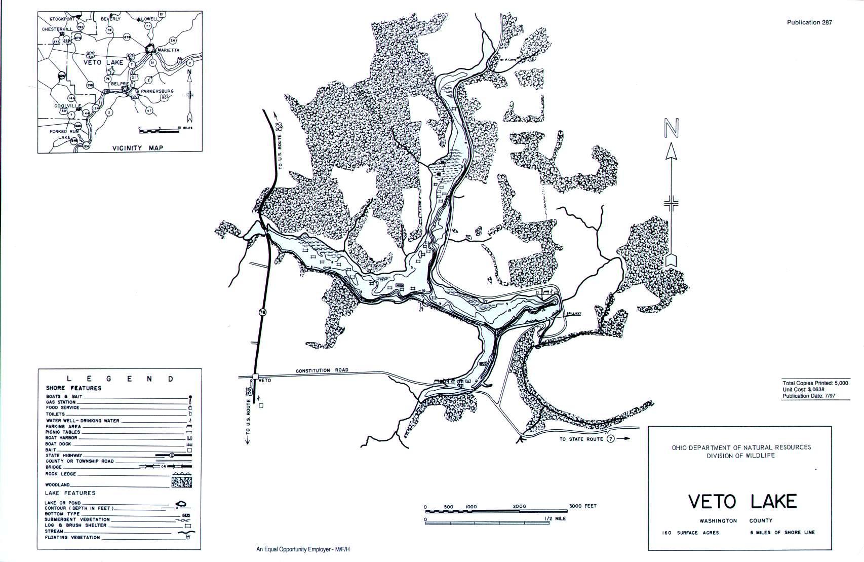 Veto Lake Fishing Map   Southeast Ohio Fishing